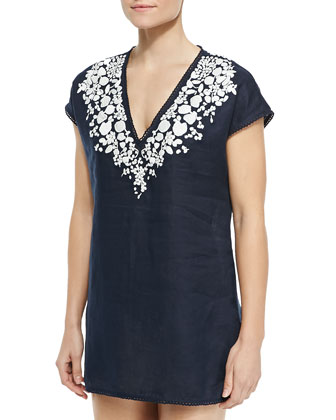 Issy Scallop-Trim Embroidered Tunic