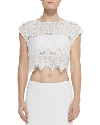 Farrell Cropped Lace Coverup Top