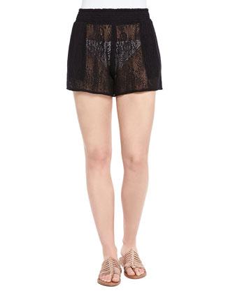 Smocked-Waist Sheer Lace Coverup Shorts