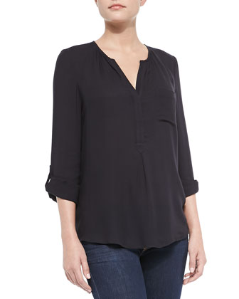 Luana Split-Neck Easy Blouse
