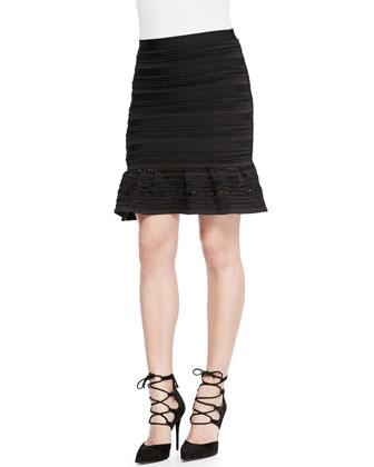 Kade Flounce-Hem Bandage Skirt