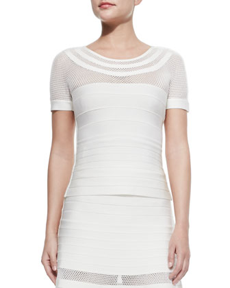 Ginnifer Short-Sleeve Mesh-Yoke Bandage Top