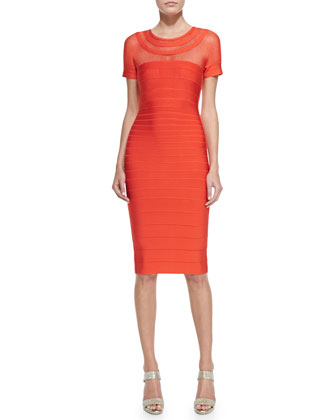 Tania Mesh-Insert Mid-Length Sheath Dress
