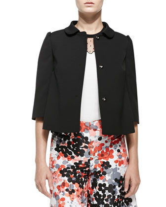 Button-Front Jacket W/ Half Sleeves