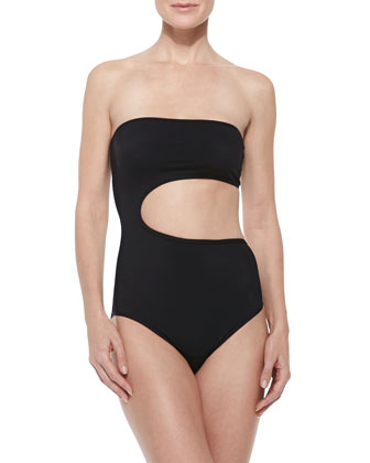 Side-Cutout Strapless One-Piece Swimsuit