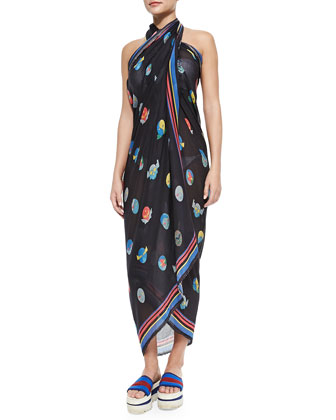 Superhero-Print Voile Convertible Pareo Coverup