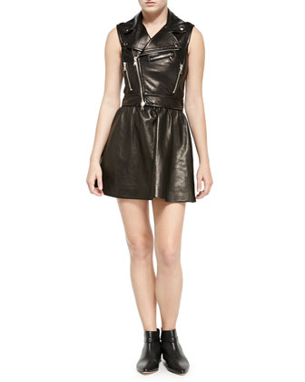 Sleeveless Leather Motorcycle Dress