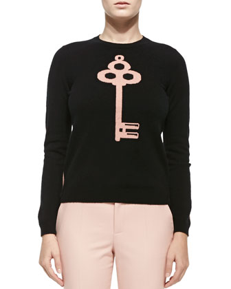 Cashmere Colorblocked Lock & Key Sweater