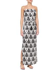 Strapless Baroque-Print Maxi Dress