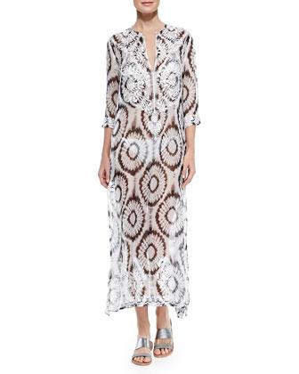 Kurta Sheer Silk Embroidered Coverup
