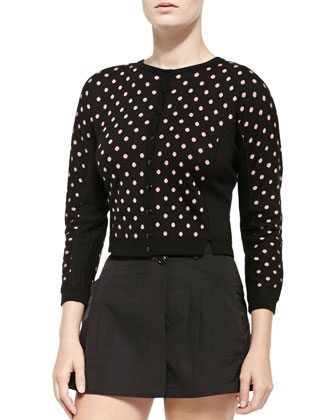 Cropped Polka Dot Cardigan