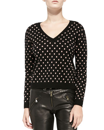 V-Neck Polka Dot Sweater