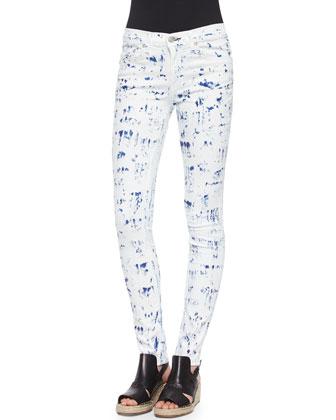 The Skinny Brushstroke-Print Jeans, Pool