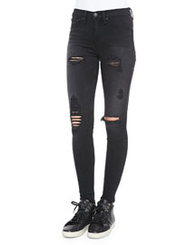 High-Rise Distressed Legging Jeans, Black
