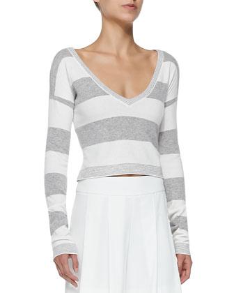 Wide-Stripe Cropped Knit Top