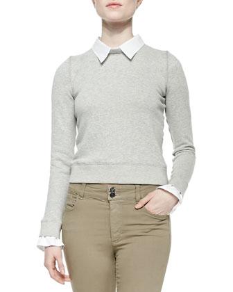 Combo Blouse/Sweatshirt Knit Pullover