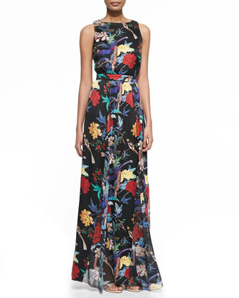 Elis Floral-Print Silk Maxi Dress
