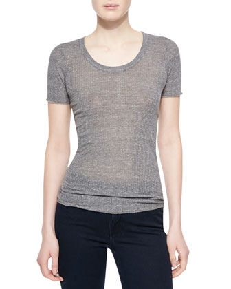 The Perfect Cotton-Blend Tee, Heather Gray