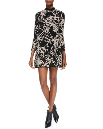 Isley 3/4-Sleeve Printed Mini Dress