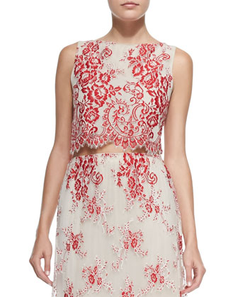 Avani Embroidered Cropped Sleeveless Top