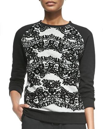 Crewneck Floral Lace-Print Sweatshirt