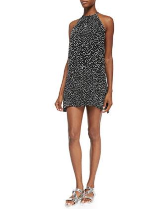 Camie Printed Halter-Neck Mini Dress