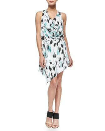 Printed Cowl-Neck Silk Dress