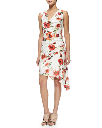 Floral-Print Gathered Silk Dress