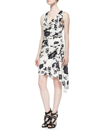 Sleeveless Cowl-Neck Floral Dress