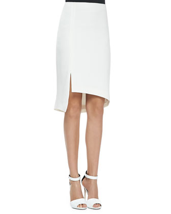 Asymmetric Skirt W/ Tux Stripe & Slit