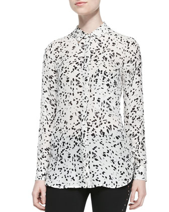 Long-Sleeve Printed Silk Blouse
