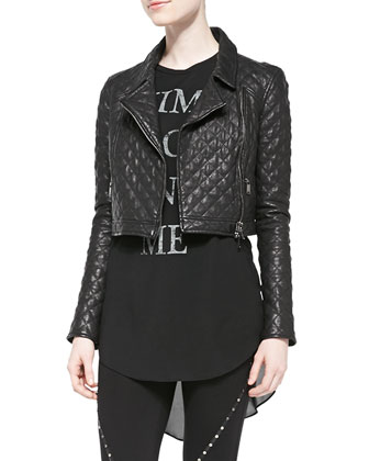 Cropped Quilted Leather Moto Jacket