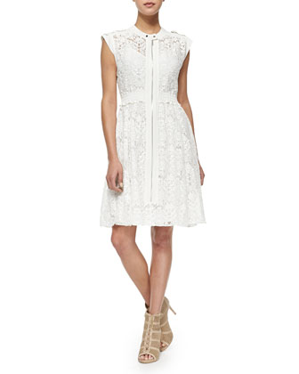Cap-Sleeve A-Line Lace Dress
