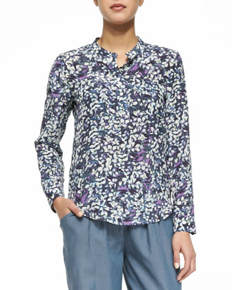 Long-Sleeve Floral Printed Blouse