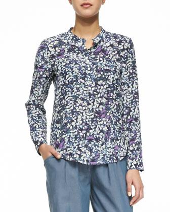 Long-Sleeve Floral Printed Blouse