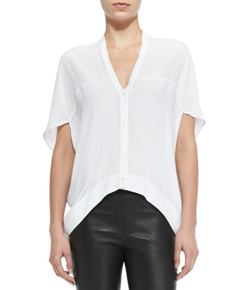 Axio Short-Sleeve Cropped Crepe Blouse