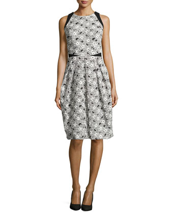 Sleeveless Cocktail Dress with Lace Overlay