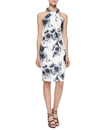 Floral-Print Beaded-Neck Cocktail Dress