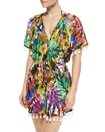 Tassel-Trim Tropical-Print Coverup
