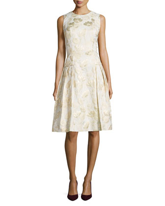 Sleeveless Floral Jacquard Cocktail Dress