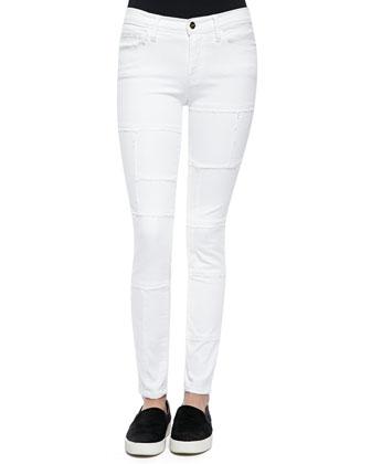 Le Skinny Panel Denim Jeans, Blanc