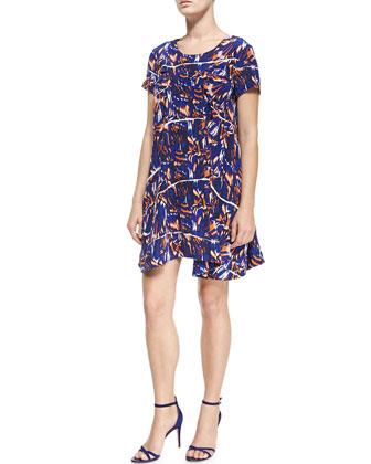 Short-Sleeve Torn Flowers-Print Dress