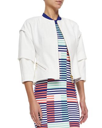 Tiered 3/4-Sleeve Jacket W/ Zip Front