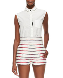 White Sleeveless Shirt with Collar