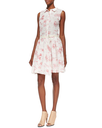 Linen Sleeveless Shirtdress with Pleated Skirt