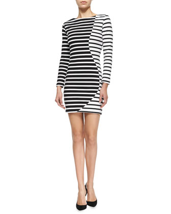 Wavy Striped Long-Sleeve Cotton Dress