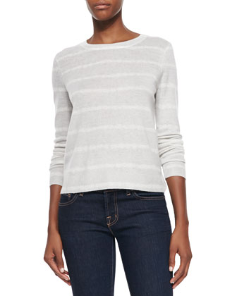 Dorianna Cashmere Striped Rib-Trim Sweater