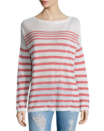The Christa Striped Linen Top