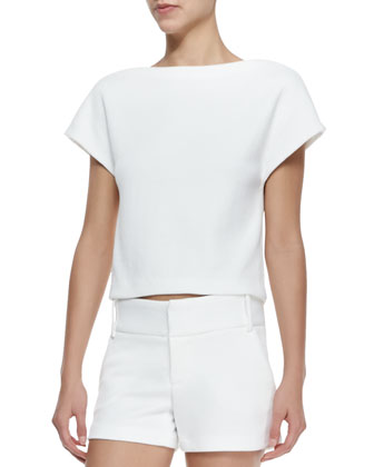 Boxy Cap-Sleeve Textured Top