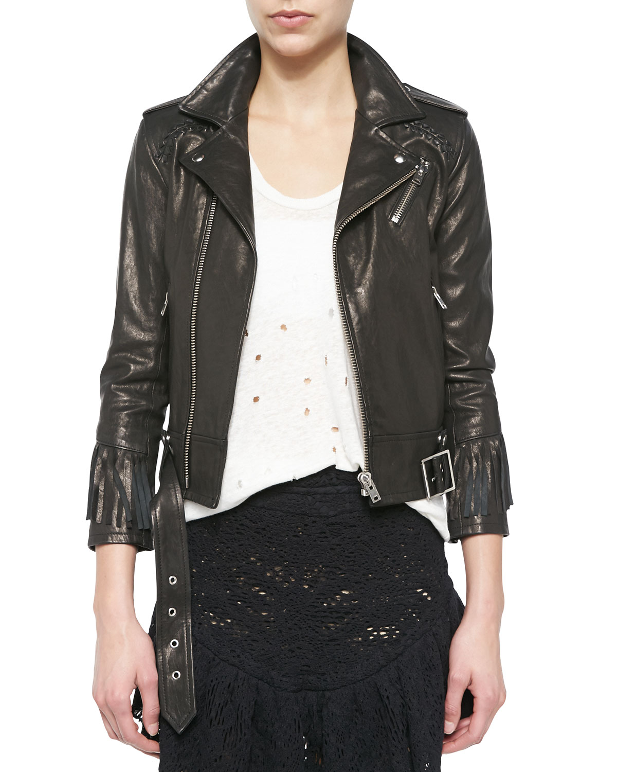 Zerignola Lamb Leather Jacket, Black